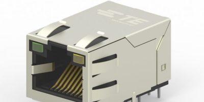 Industrial Ethernet jacks have integrated magnetics and PoE